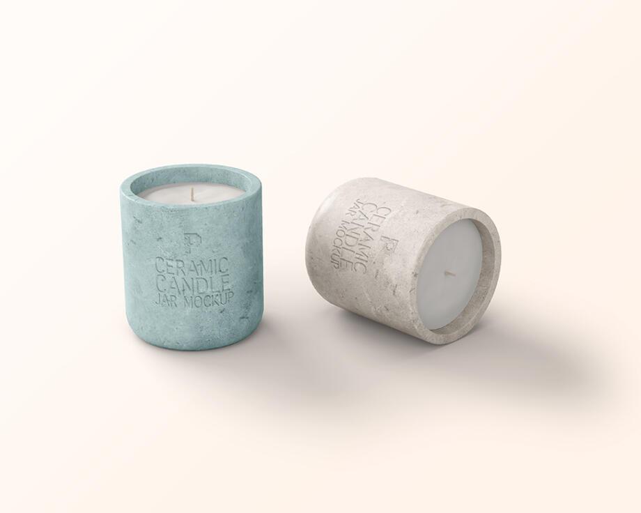 Free Ceramic Candle Jar Mockup PSD
