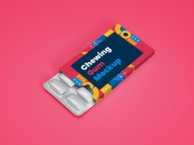 Free Chewing Gum in Blister Packaging Mockup PSD