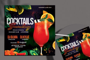 Free Cocktail Club Party PSD Flyer Template