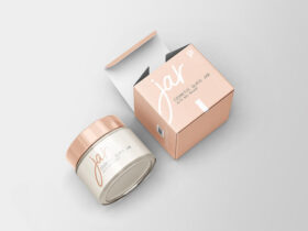 Free Cosmetic Glass Jar with Box Mockup PSD