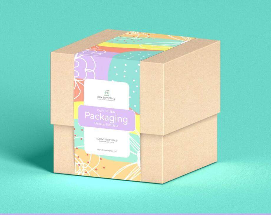 Free Craft Gift Box Packaging Mockup