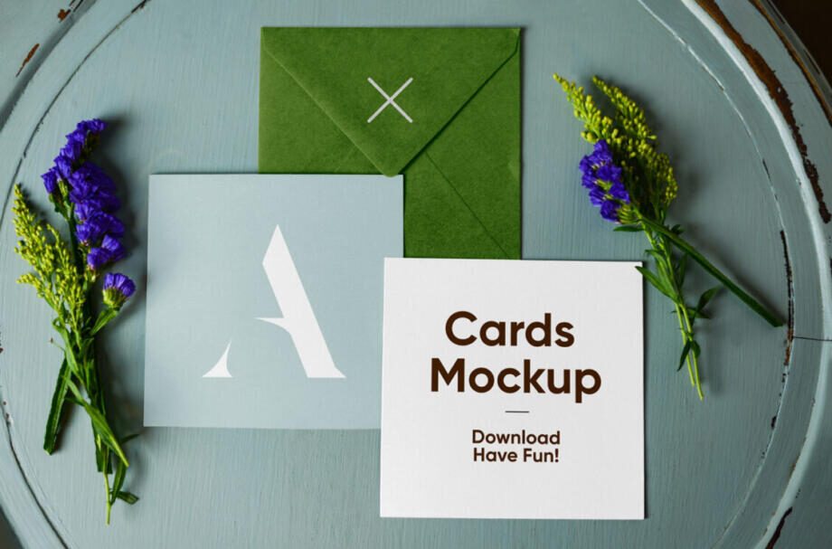 Free Envelope with Cards Mockup