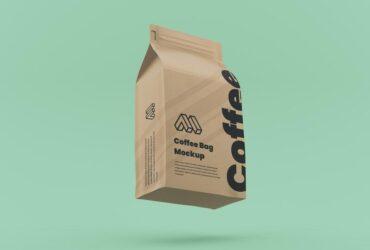 Free Flying Coffee Bag Mockup