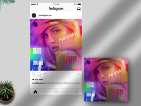 Free Friday Fun Party Instagram Post PSD Template
