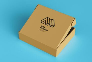 Free Half Open Cardboard Box Mockup