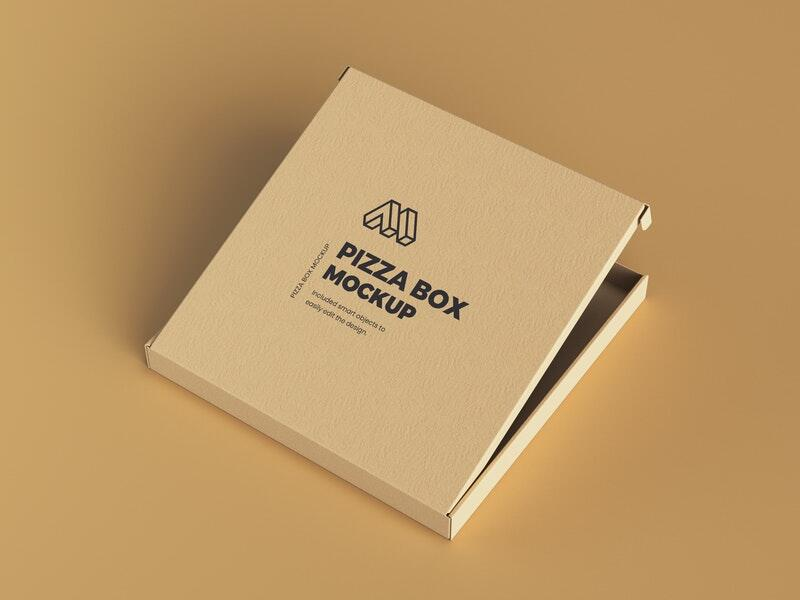 Free Half Opened Pizza Box Mockup