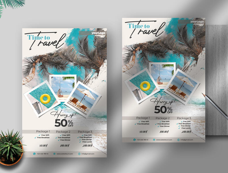 Free Holiday Travel Flyer PSD Template