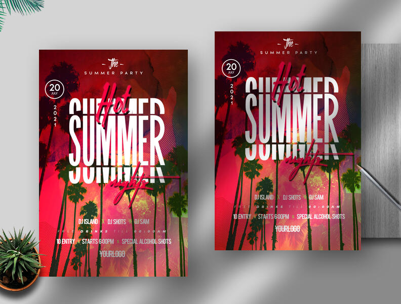 Free Hot Summer Nights Flyer PSD Template
