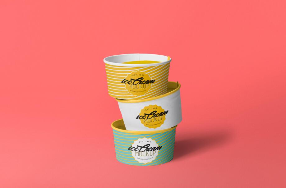 Free Ice Cream Cup Mockup PSD