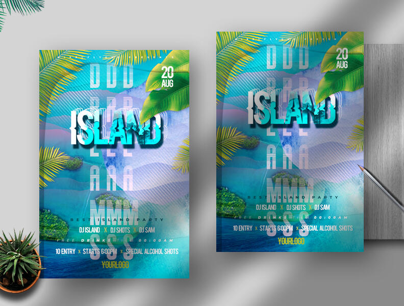 Free Island Dreams Flyer PSD Template