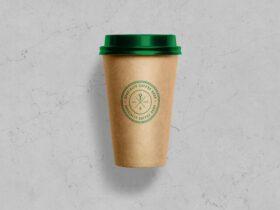 Free Kraft Paper Coffee Cup Mockup PSD