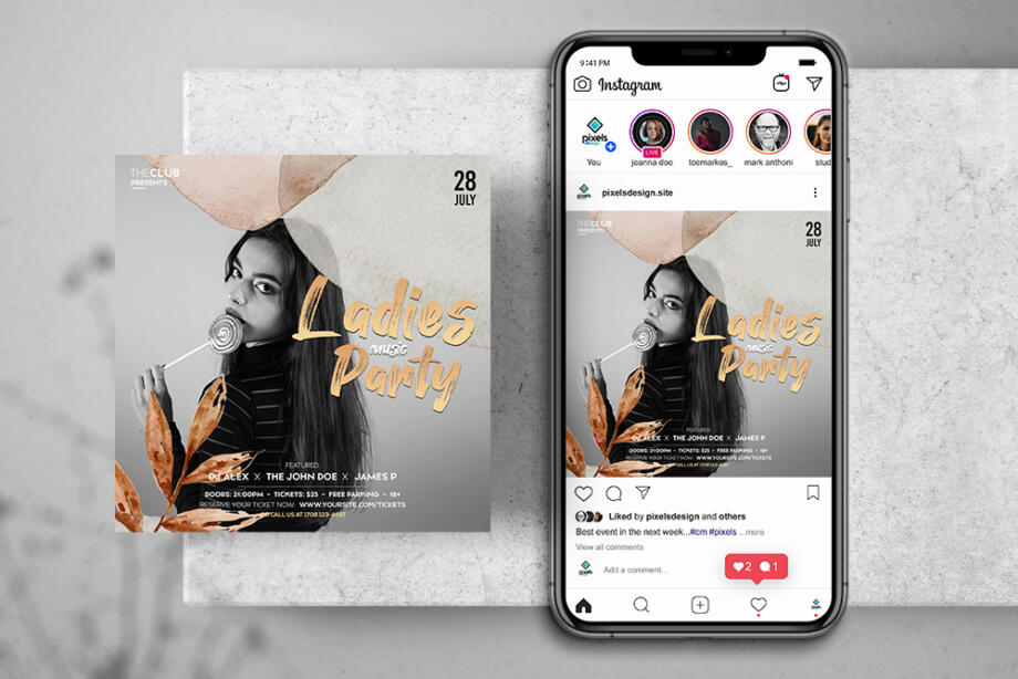 Free Ladies Music Party Instagram Banner Template PSD