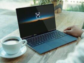 Free Laptop on Desk Mockup