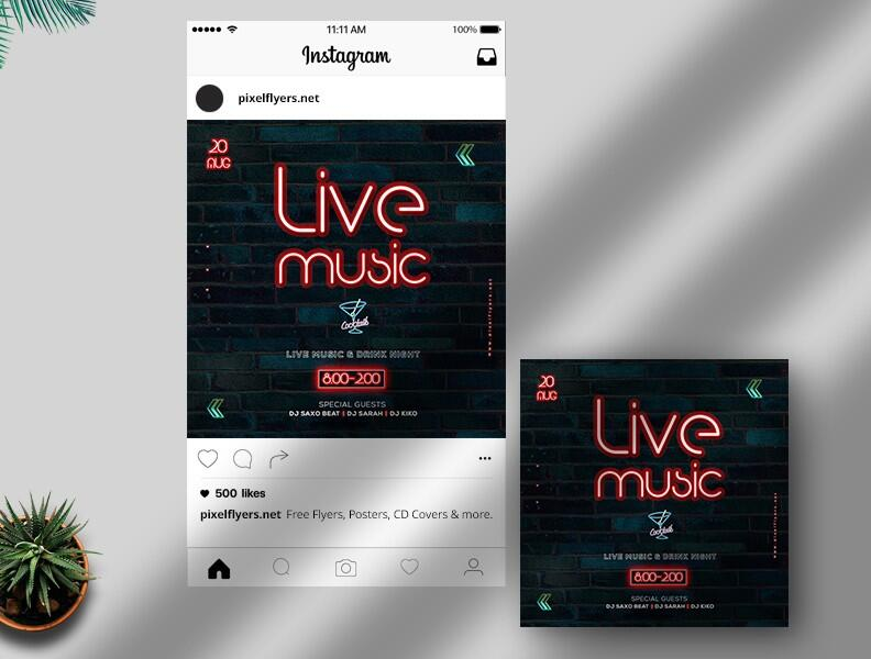 Free Live Music Instagram Post PSD Template
