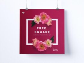 Free Lovely 1:1 Square Hanging Poster Mockup PSD