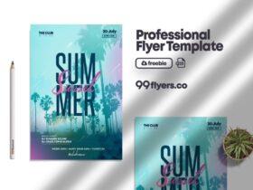 Free Lovely Summer Flyer PSD Template