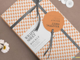 Free Lovely Wrapping Paper Mockup PSD