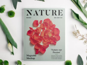 Free Magazine with Flowers Mockup PSD
