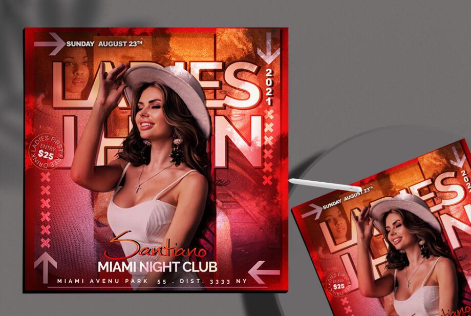 Free Miami Night Club Instagram Banner PSD