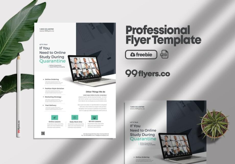Free Online Home Learning Flyer PSD Template