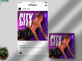 Free Party Nights Instagram Post PSD Template