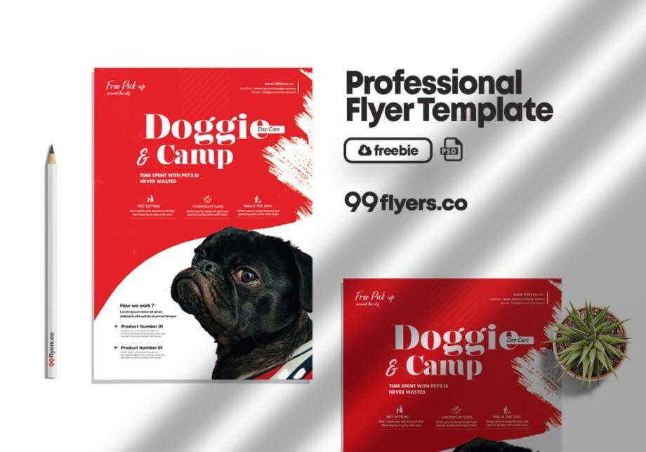 Free Pet Daycare Flyer PSD Template