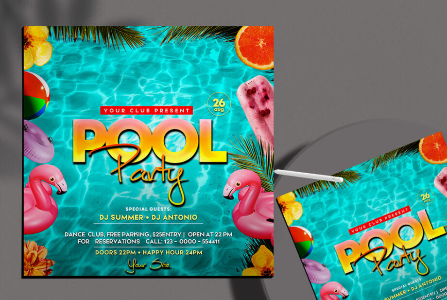 Free Pool Party Instagram Banner