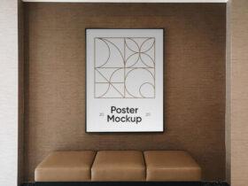 Free Poster in Hotel Mockup