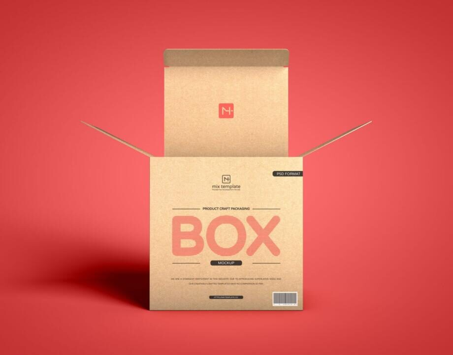 Free Product Craft Box Packaging Mockup PSD Template