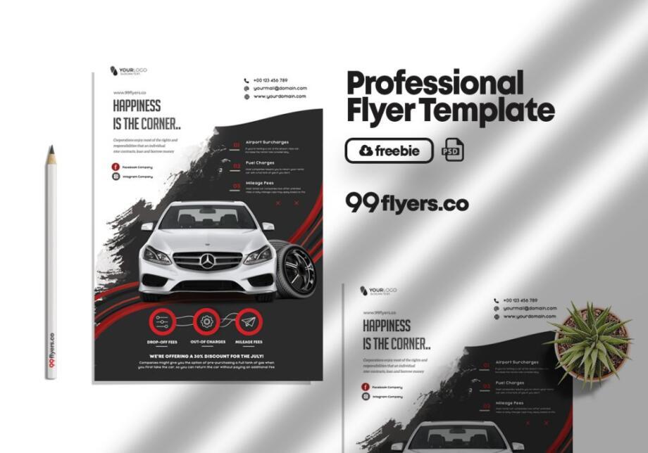 Free Rent a Car PSD Flyer Template