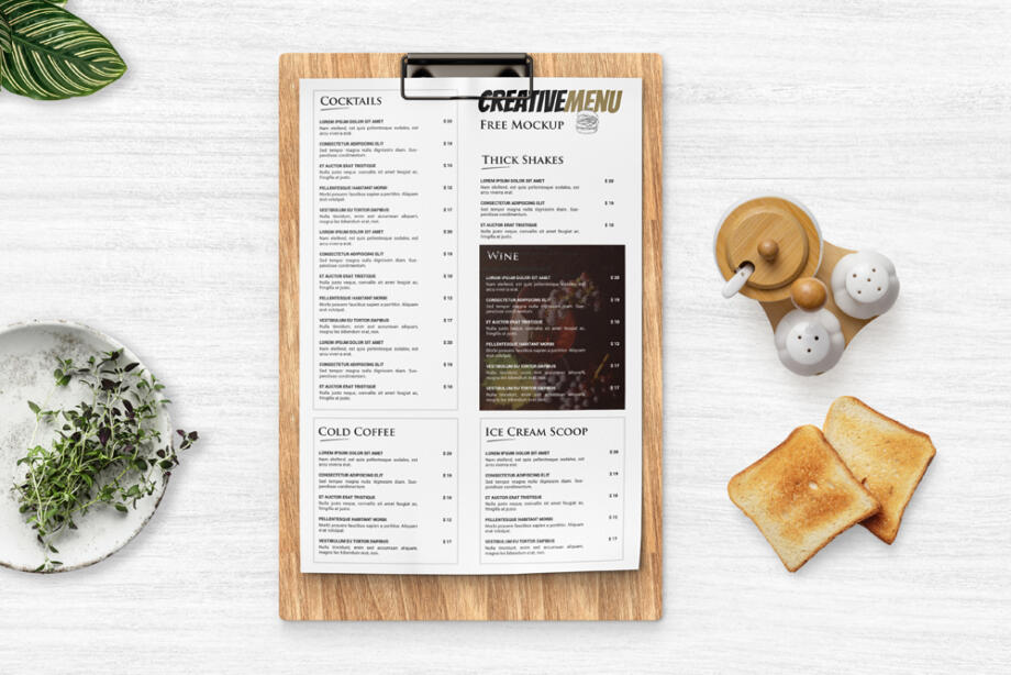 Free Restaurant Menu Clipboard Mockup