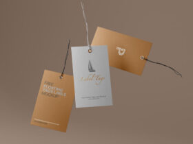 Free Simple Floating Label Tags Mockup PSD