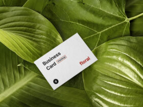 Free Simple Floral Business Card Mockup