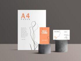 Free Standing Branding Stationery Mockup