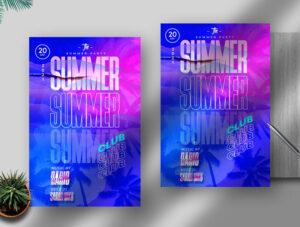 Free Summer Club Flyer PSD Template