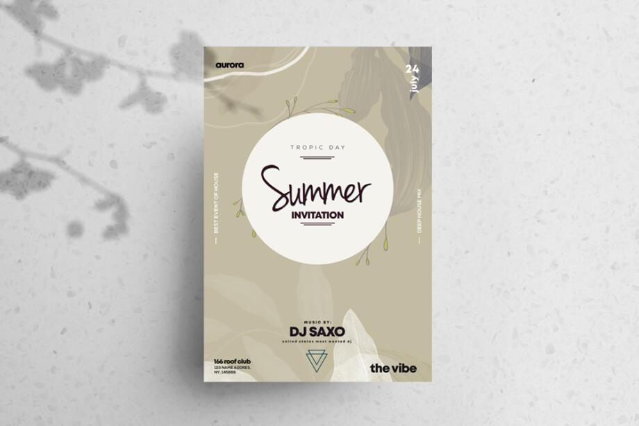 Free Summer Invitation PSD Flyer Template