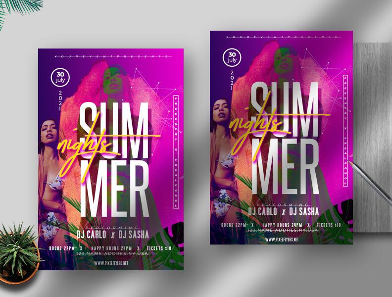 Free Summer Nights Flyer PSD Template