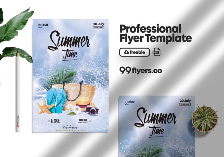 Free Summer Splash Party PSD Template
