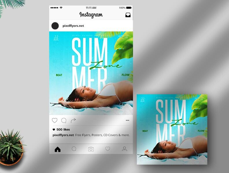 Free Summer Zone Instagram Post PSD Template