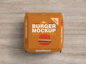 Free Top View Burger Box Mockup PSD