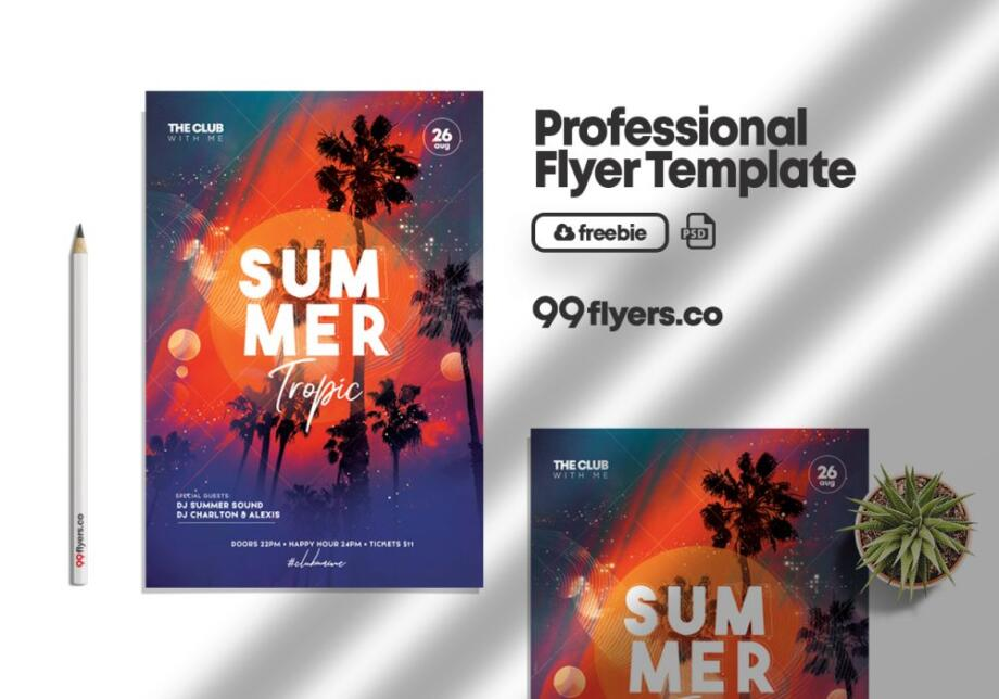 Free Tropic Party Summer Event PSD Template