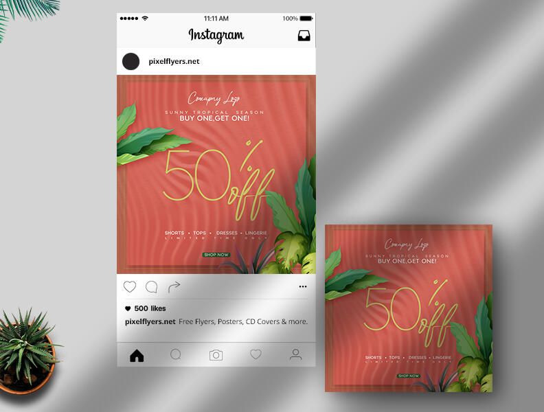 Free Tropical Summer Sale Instagram Post PSD Template
