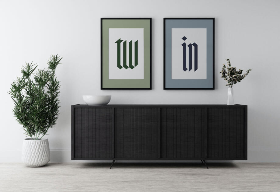 Free Twin Frame Poster Mockup