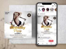Free White Birthday Party Instagram Banner Template PSD