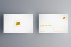 Free White/Gold Business Card Mockup