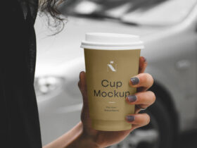 Free Woman Holding Cafe Cup Mockup