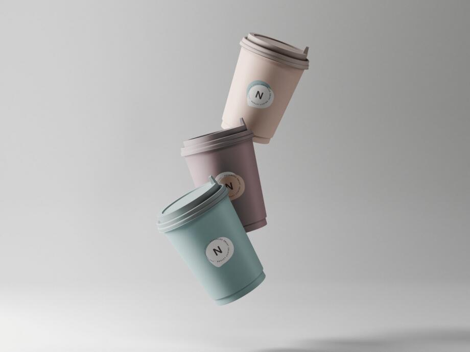 Free 3 Coffee Cup Mockups PSD