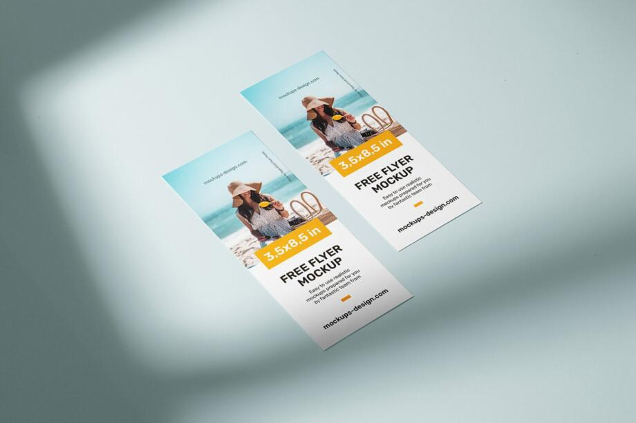 Free 3,5x8,5 in Flyer Mockup PSD Template