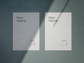 Free A4 Paper Mockup With Shadow Overlay PSD