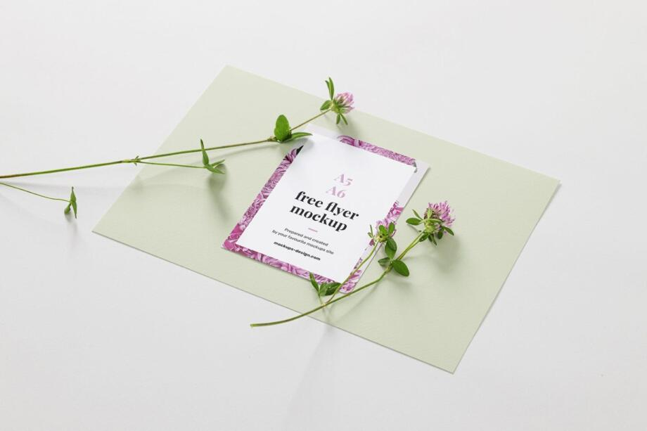 Free A6 Flyer with Flowers Mockup PSD
